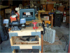 Bandsaw end view looking back toward wing bench.